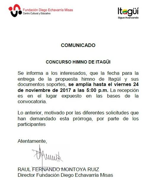 COMUNICADO CONCURSO HIMNO DE ITAGÜÍ