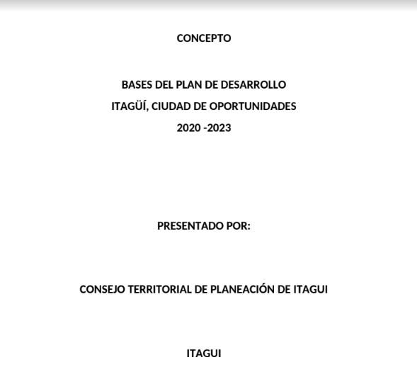 Concepto del CTP de Itagüí a las bases del Plan de Desarrollo Municipal